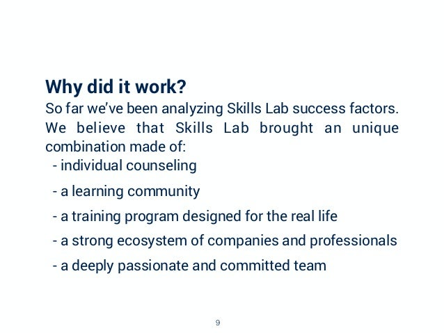 Why did it work? So far we've been analyzing Skills Lab success factors. We believe that Skills Lab brought an unique comb...