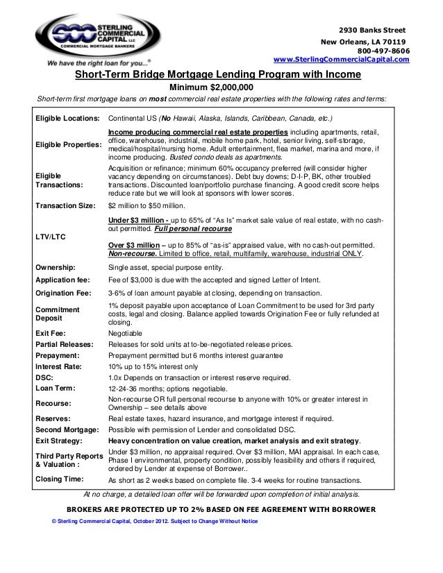 bridge loan agreement template - bridge loan term sheet 10 12