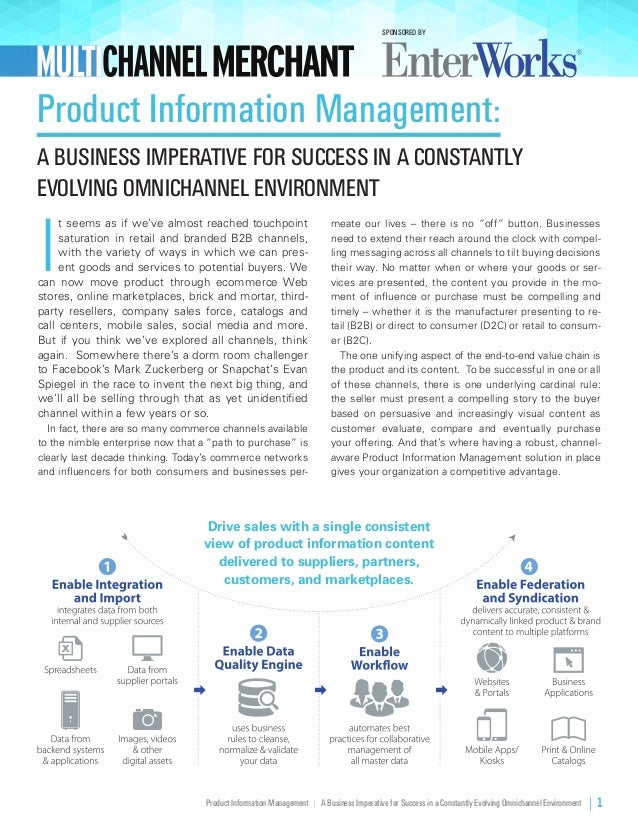 Product Information Management | A Business Imperative for Success in a Constantly Evolving Omnichannel Environment | 1 I ...