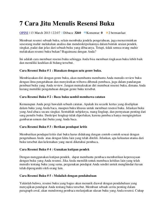 Contoh Daftar Isi Resensi Contoh Two Contoh Resensi Buku Indonesia