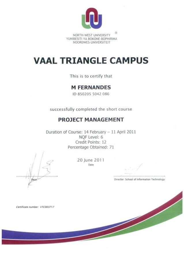 Certificate Project Management Nqf Level 6