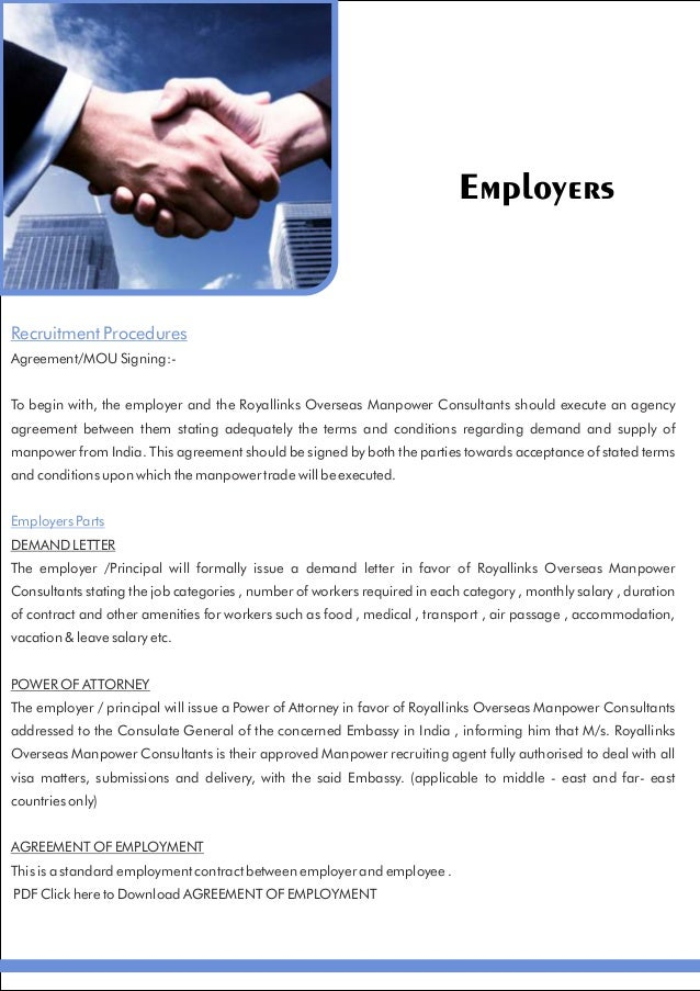 royal links overseas manpower consultants brochure