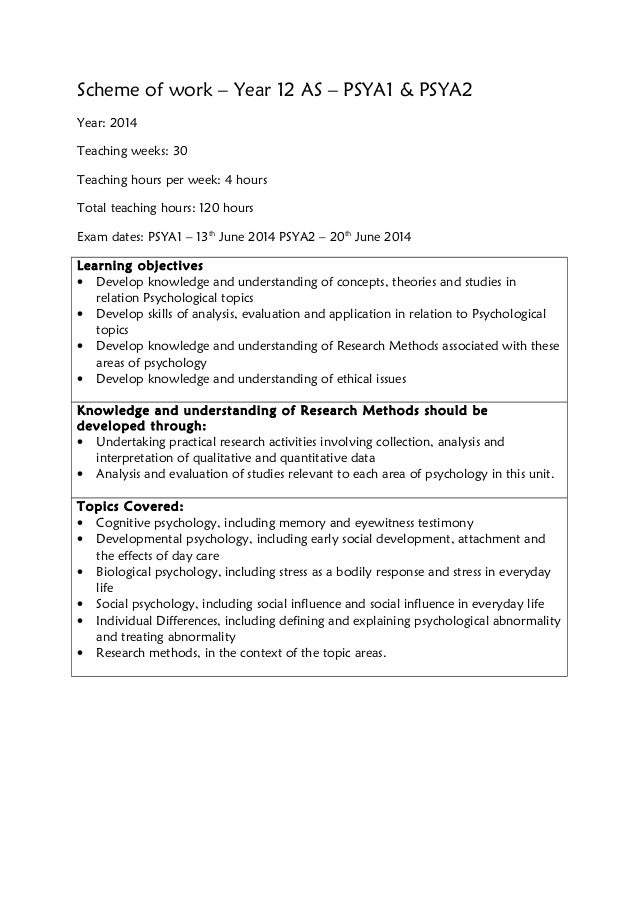 Scheme of work – Year 12 AS – PSYA1 & PSYA2 Year: 2014 Teaching weeks: 30 Teaching hours per week: 4 hours Total teaching ...