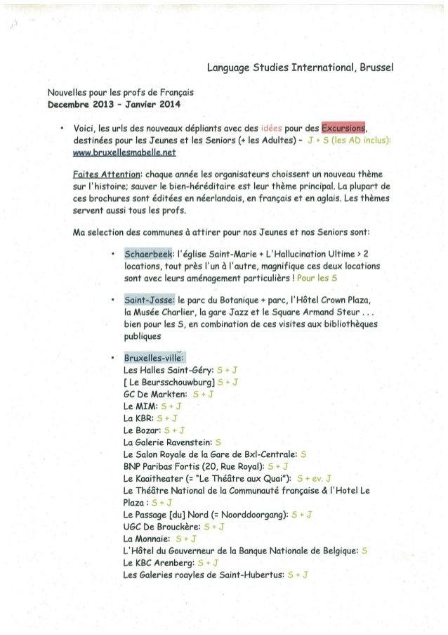 Language Studies International, Brussel Nouvelles pour les profs de Français becembre 2013 - Janvier 2014 Voici, les urls ...