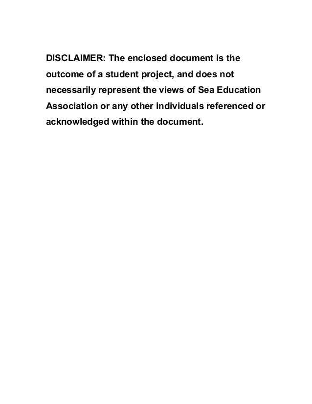 DISCLAIMER: The enclosed document is the outcome of a student project, and does not necessarily represent the views of Sea...