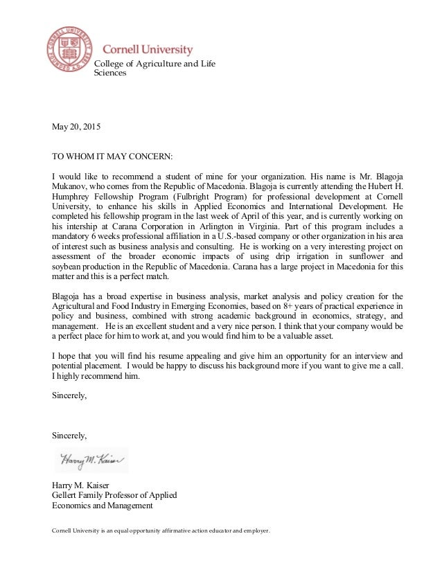 Letter Of Recommendation Professor Harry Kaiser  Cornell University