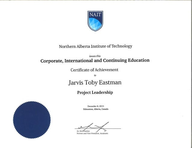 Nait Project Leadership Certification