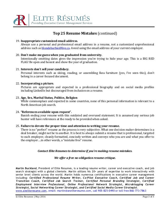 Elite Resumes | May 2016 Page 2 Of 3; 3. Top 25 Resume Mistakes ...