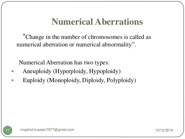 numerical chromosomal aberrations