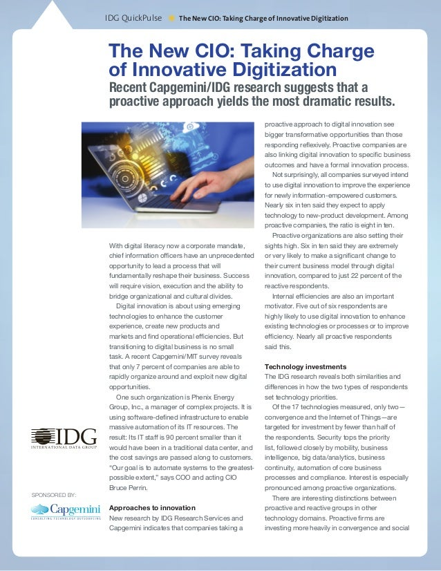 IDG QuickPulse *The New CIO:Taking Charge of Innovative Digitization The New CIO: Taking Charge of Innovative Digitization...