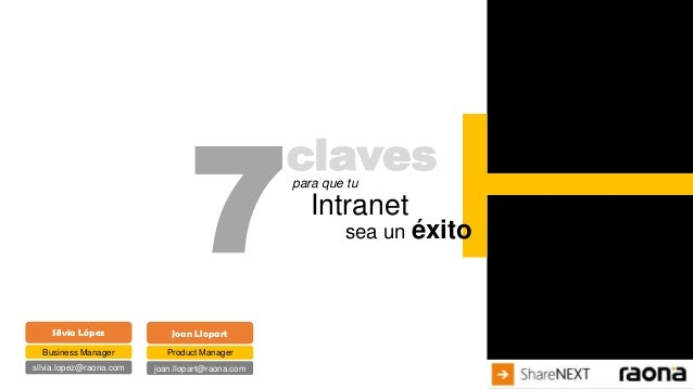 7  claves  Silvia López  Joan Llopart  Business Manager  Product Manager  silvia.lopez@raona.com  joan.llopart@raona.com  ...