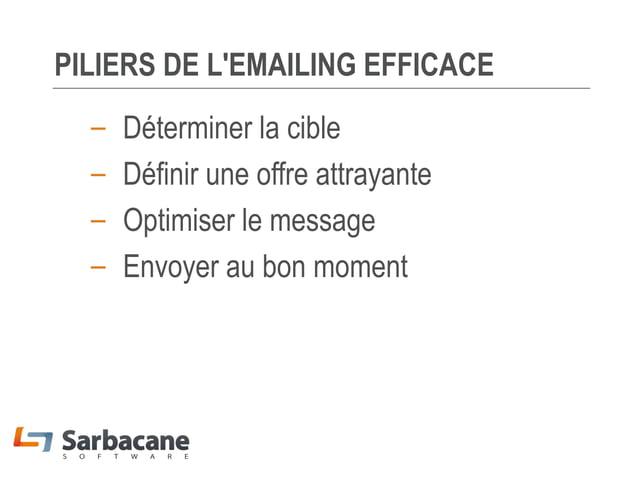 PILIERS DE L'EMAILING EFFICACE – – – –  Déterminer la cible Définir une offre attrayante Optimiser le message Envoyer au b...