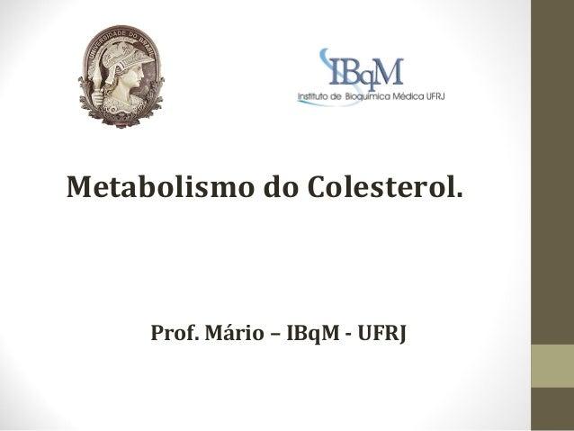 Metabolismo do Colesterol.     Prof. Mário – IBqM - UFRJ