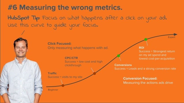 HubSpot Tip: Focus on what happens after a click on your ad. Use this curve to guide your focus.