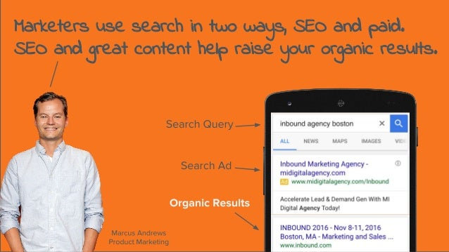 Marketers use search in two ways, SEO and paid. SEO and great content help raise your organic results.