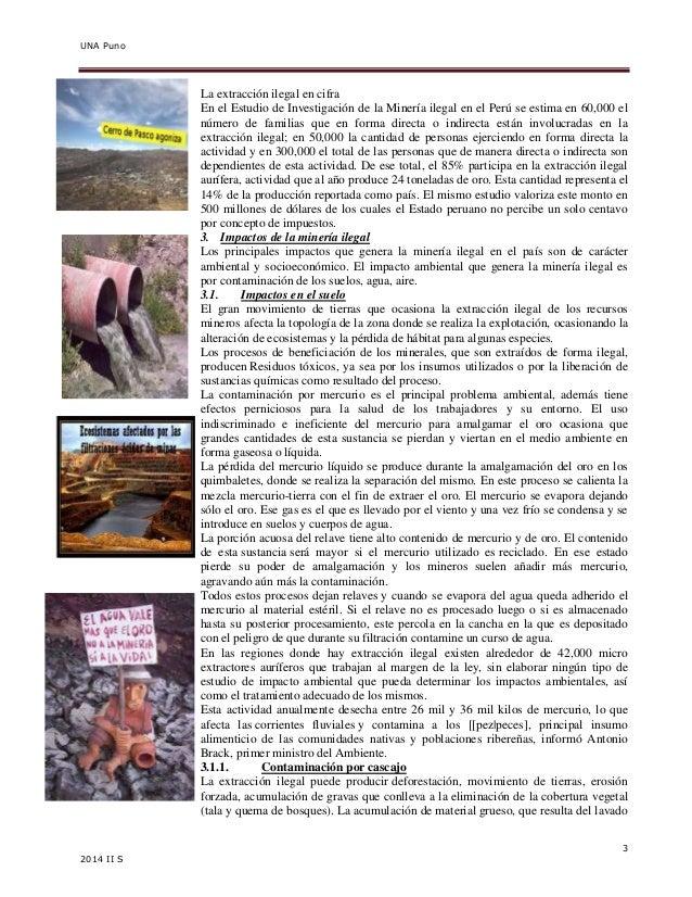 UNA Puno  3  2014 II S  La extracción ilegal en cifra  En el Estudio de Investigación de la Minería ilegal en el Perú se e...