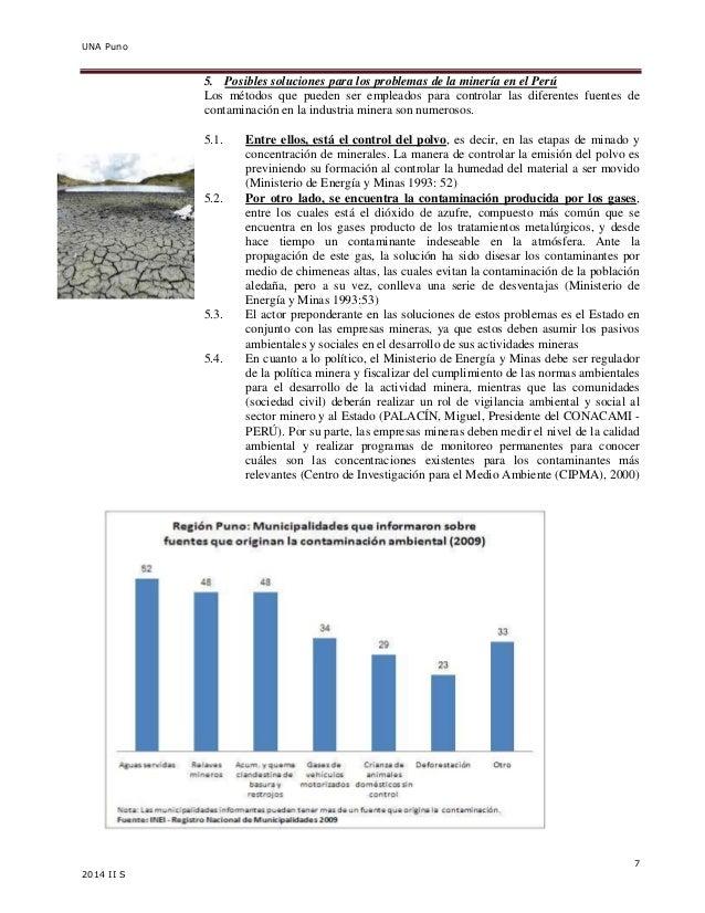UNA Puno  7  2014 II S  5. Posibles soluciones para los problemas de la minería en el Perú  Los métodos que pueden ser emp...