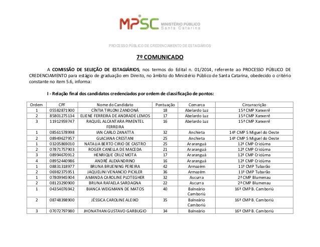 PROCESSO PÚBLICO DE CREDENCIAMENTO DE ESTAGIÁRIOS  7º COMUNICADO  A COMISSÃO DE SELEÇÃO DE ESTAGIÁRIOS, nos termos do Edit...