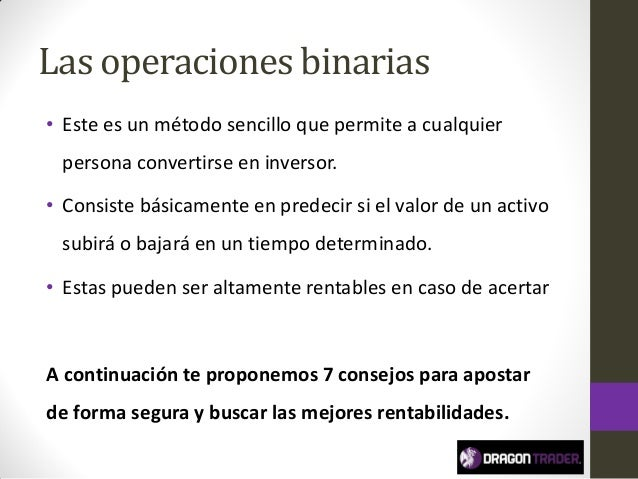 Consejos para operar en opciones binarias