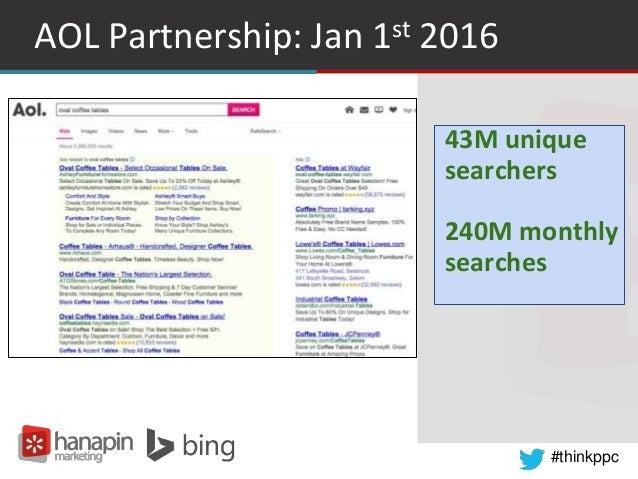 #thinkppc AOL Partnership: Jan 1st 2016 43M unique searchers 240M monthly searches