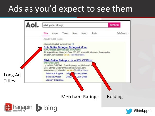 #thinkppc Ads as you'd expect to see them Long Ad Titles Merchant Ratings Bolding