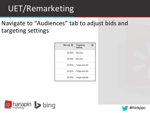 "#thinkppc UET/Remarketing Navigate to ""Audiences"" tab to adjust bids and targeting settings"