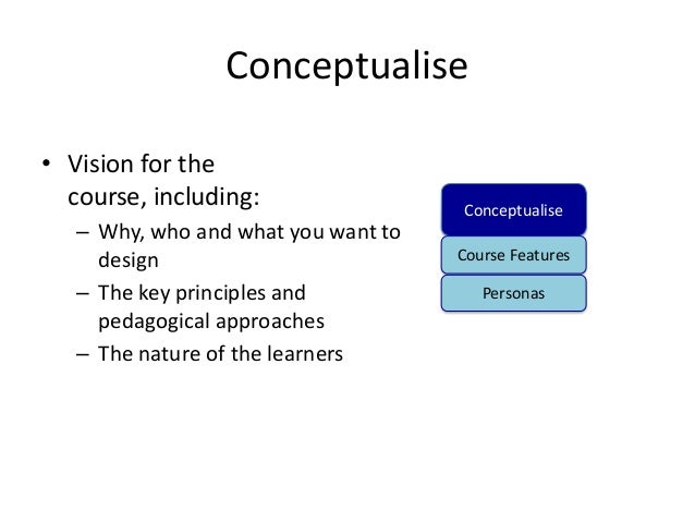 Conceptualise• Vision for the  course, including:                 Conceptualise   – Why, who and what you want to     desi...
