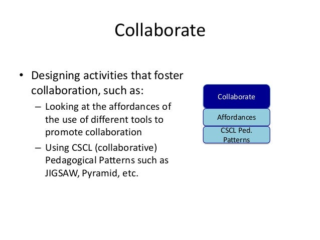 Collaborate• Designing activities that foster  collaboration, such as:            Collaborate   – Looking at the affordanc...