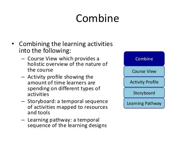 Combine• Combining the learning activities  into the following:   – Course View which provides a             Combine     h...