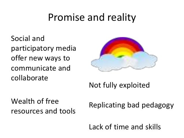 Promise and realitySocial andparticipatory mediaoffer new ways tocommunicate andcollaborate                      Not fully...