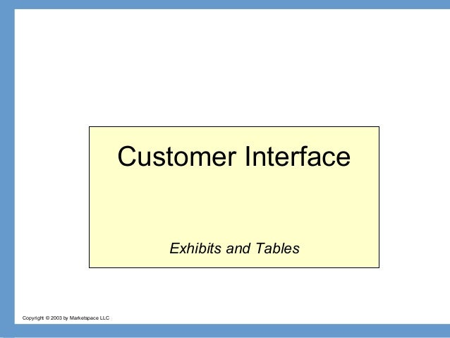 Customer Interface Exhibits and Tables  Copyright © 2003 by Marketspace LLC
