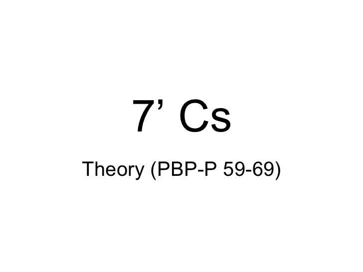 7' Cs Theory (PBP-P 59-69)