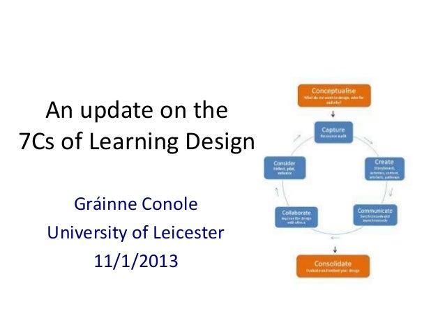 An update on the7Cs of Learning Design     Gráinne Conole  University of Leicester       11/1/2013