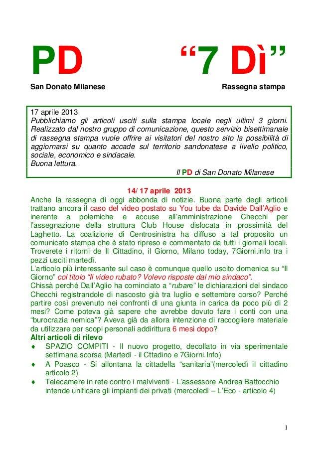 """PDSan Donato Milanese                                             """"7 Dì""""        Rassegna stampa17 aprile 2013Pubblichiamo ..."""