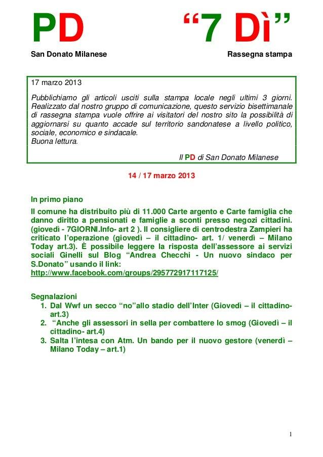 """PDSan Donato Milanese                                             """"7 Dì""""         Rassegna stampa17 marzo 2013Pubblichiamo ..."""