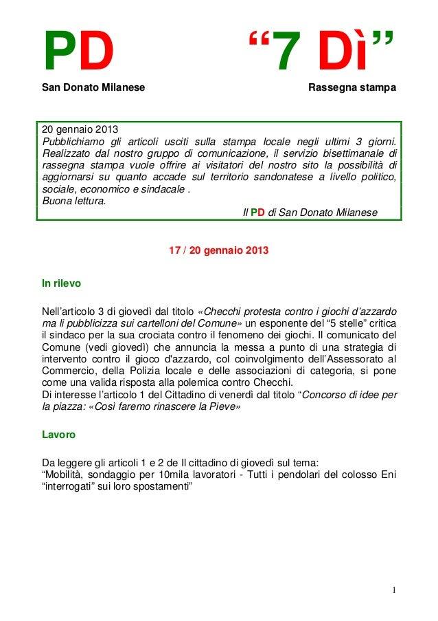 """PDSan Donato Milanese                                               """"7 Dì""""         Rassegna stampa20 gennaio 2013Pubblichi..."""
