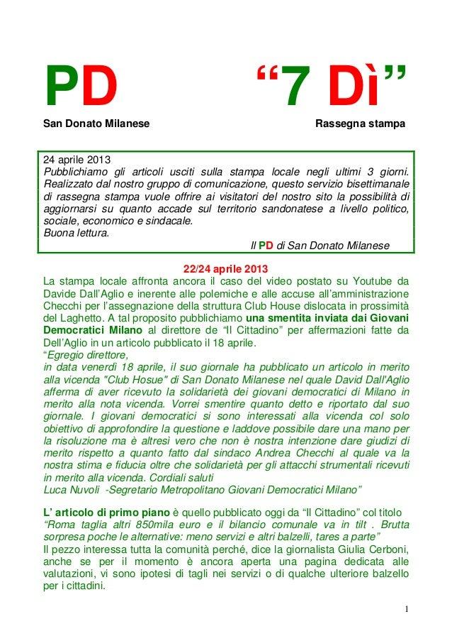 """PDSan Donato Milanese                                               """"7 Dì""""       Rassegna stampa24 aprile 2013Pubblichiamo..."""