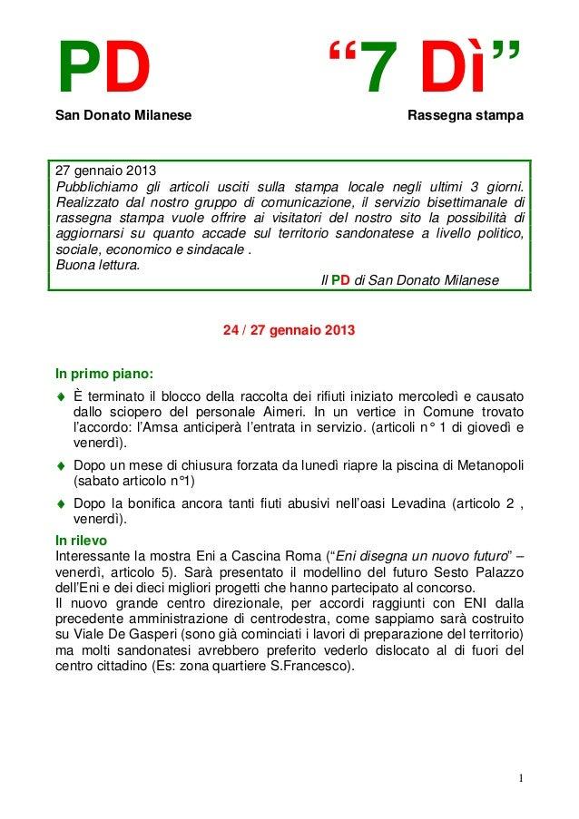 """PDSan Donato Milanese                                              """"7 Dì""""        Rassegna stampa27 gennaio 2013Pubblichiam..."""