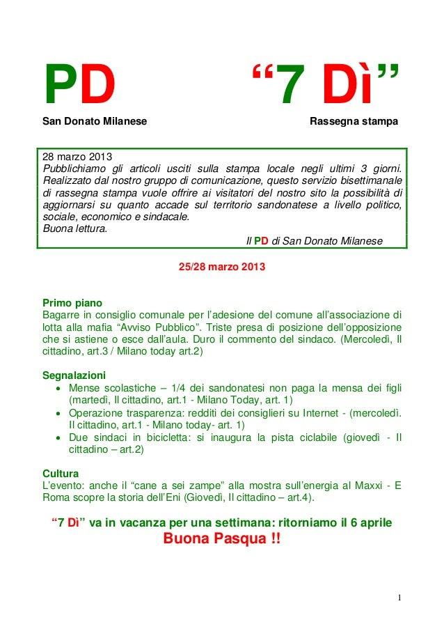 """PDSan Donato Milanese                                             """"7 Dì""""        Rassegna stampa28 marzo 2013Pubblichiamo g..."""