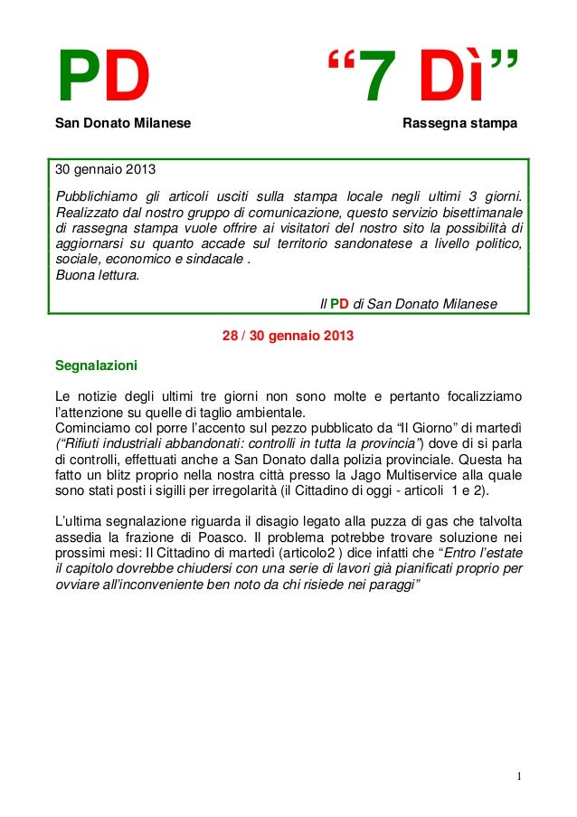 """PDSan Donato Milanese                                                """"7 Dì""""         Rassegna stampa30 gennaio 2013Pubblich..."""