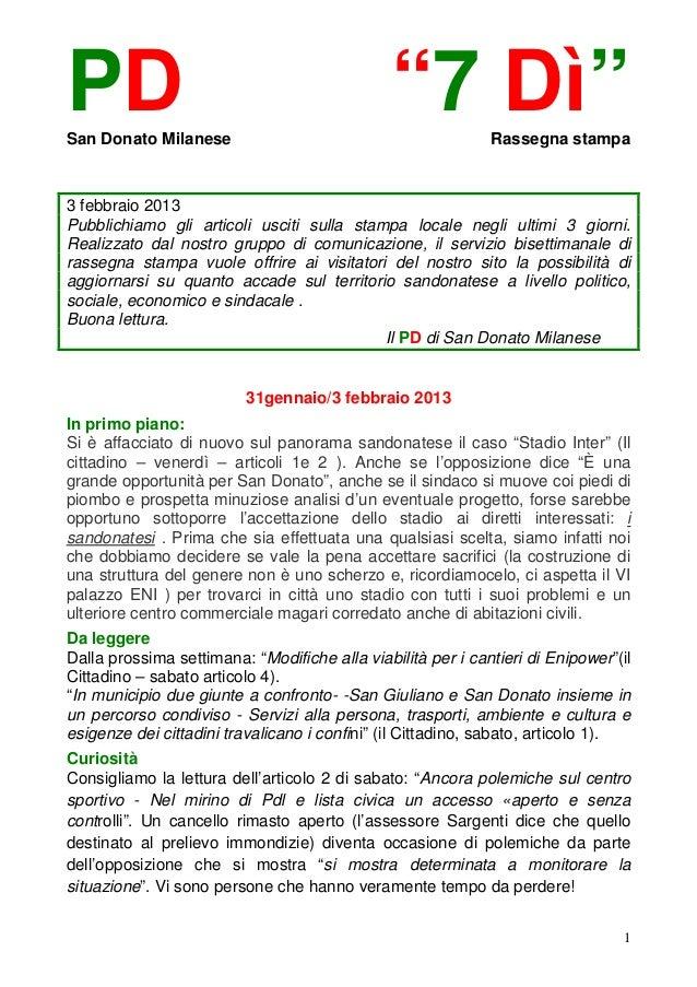 """PDSan Donato Milanese                                               """"7 Dì""""        Rassegna stampa3 febbraio 2013Pubblichia..."""