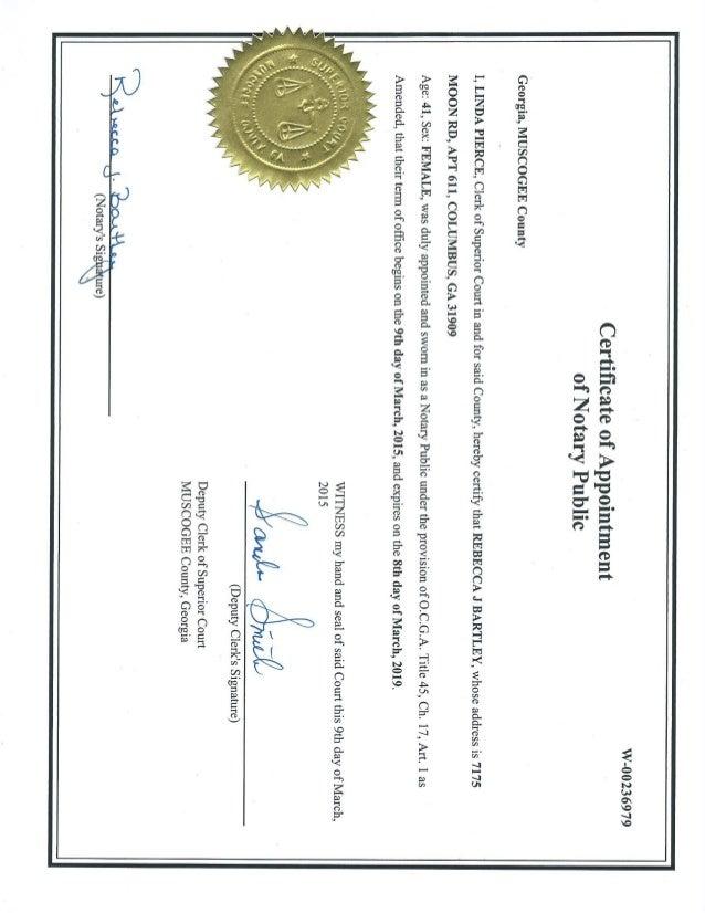 Georgia Rebecca Notary Certificate