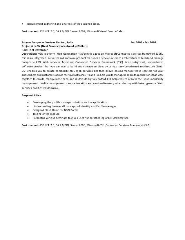 asp.net web application developer resume