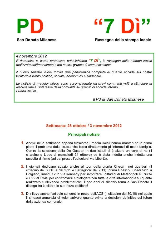 """PDSan Donato Milanese                                                      """"7 Dì""""                                         ..."""