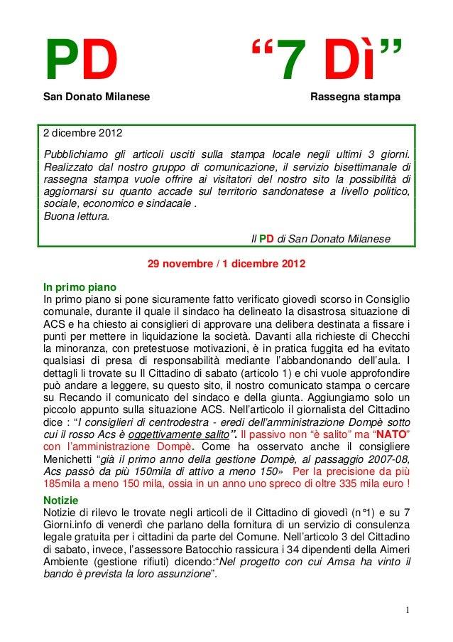 """PDSan Donato Milanese                                              """"7 Dì""""        Rassegna stampa2 dicembre 2012Pubblichiam..."""