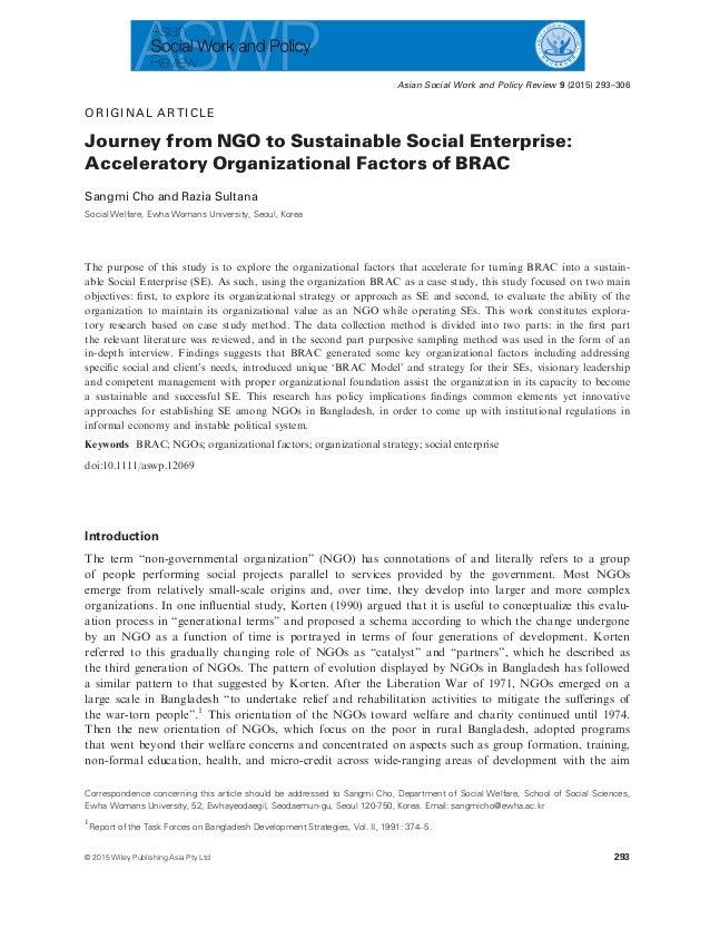 ORIGINAL ARTICLE Journey from NGO to Sustainable Social Enterprise: Acceleratory Organizational Factors of BRAC Sangmi Cho...