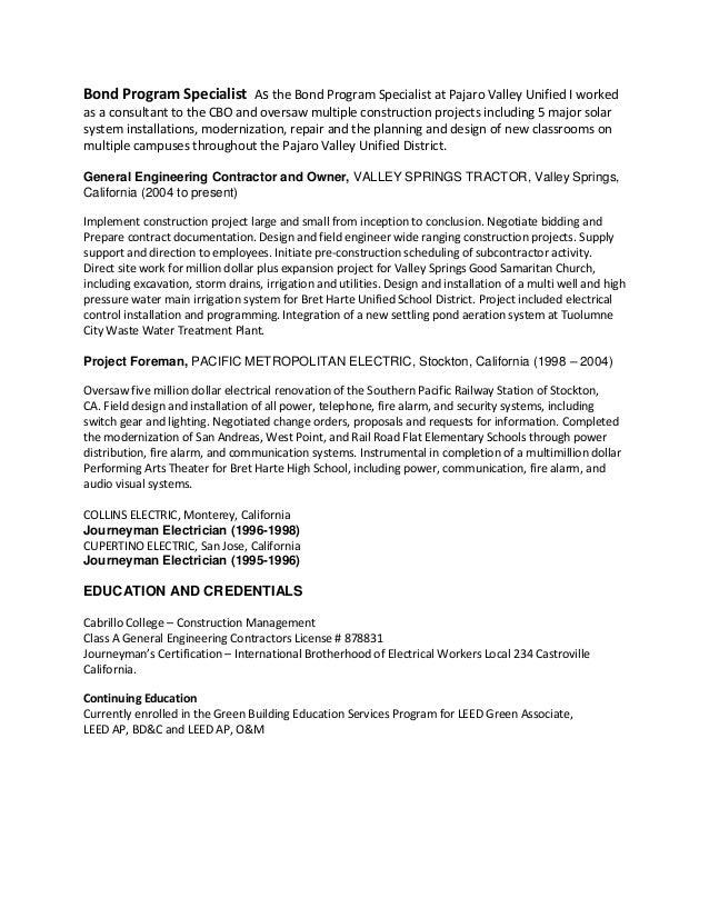 erik d resume for project manager position