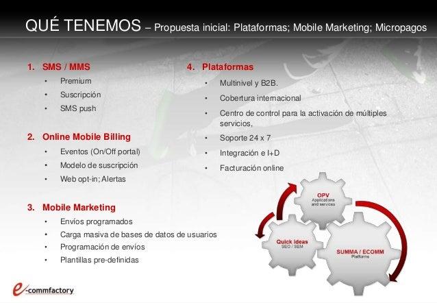 1. SMS / MMS • Premium • Suscripción • SMS push 2. Online Mobile Billing • Eventos (On/Off portal) • Modelo de suscripción...
