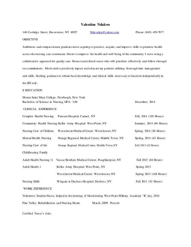 new grad nursing resume clinical experience
