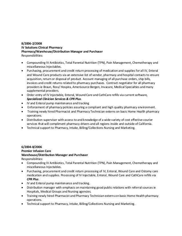 Resume Malik Ross Iv Pharmacy Technician Hospital Home